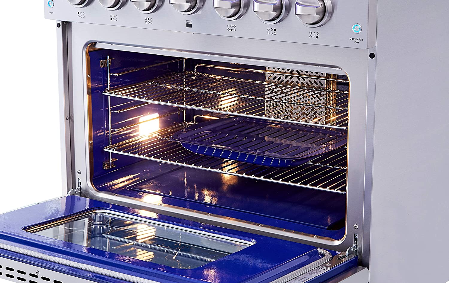 6 Burners Ft Convection Fan In Stainless Steel Cast Iron Grates Blue Porcelain Oven Interior Thor Kitchen HRG3618U 36 Freestanding Professional Style Gas Range with 5.2 Cu Oven