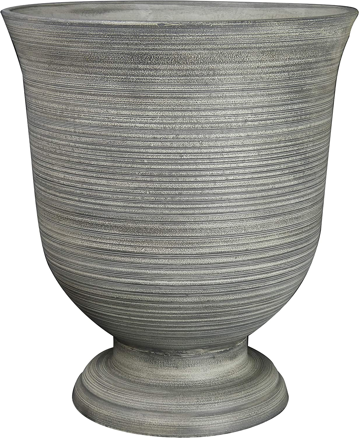 "Classic Home and Garden 39451D-518R 16"" Greenwich Urn Planter, Striated Granite"