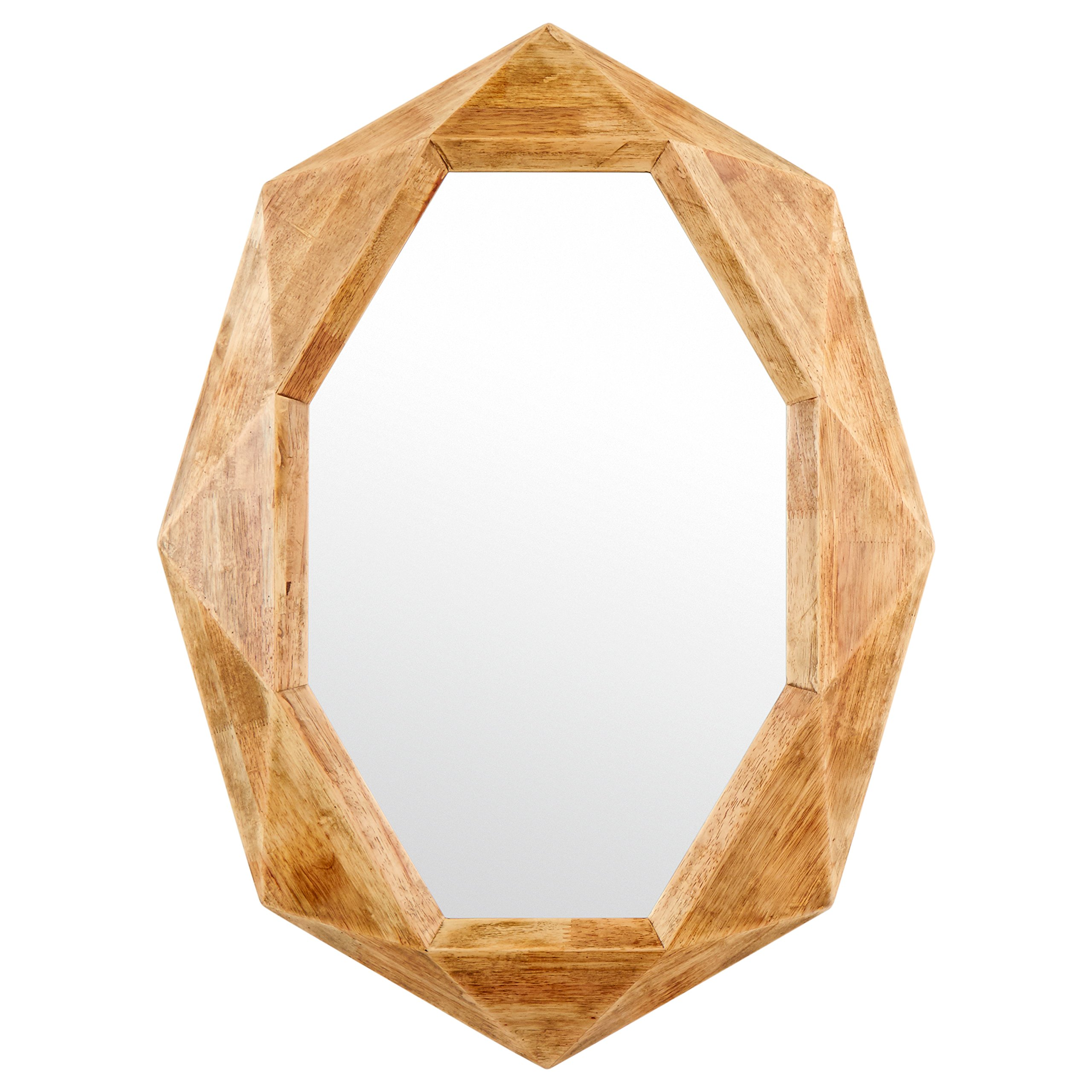 Rivet Modern Octagon Wood Frame Mirror, 30.5'' H, Natural