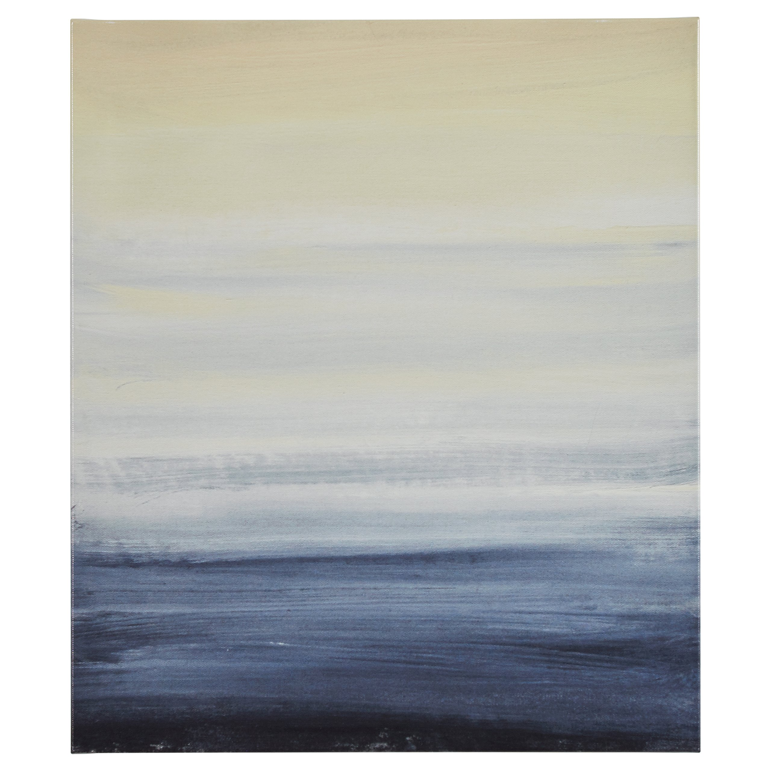 Modern Abstract Blue and Tan Ocean Print on Canvas, 24'' x 28''