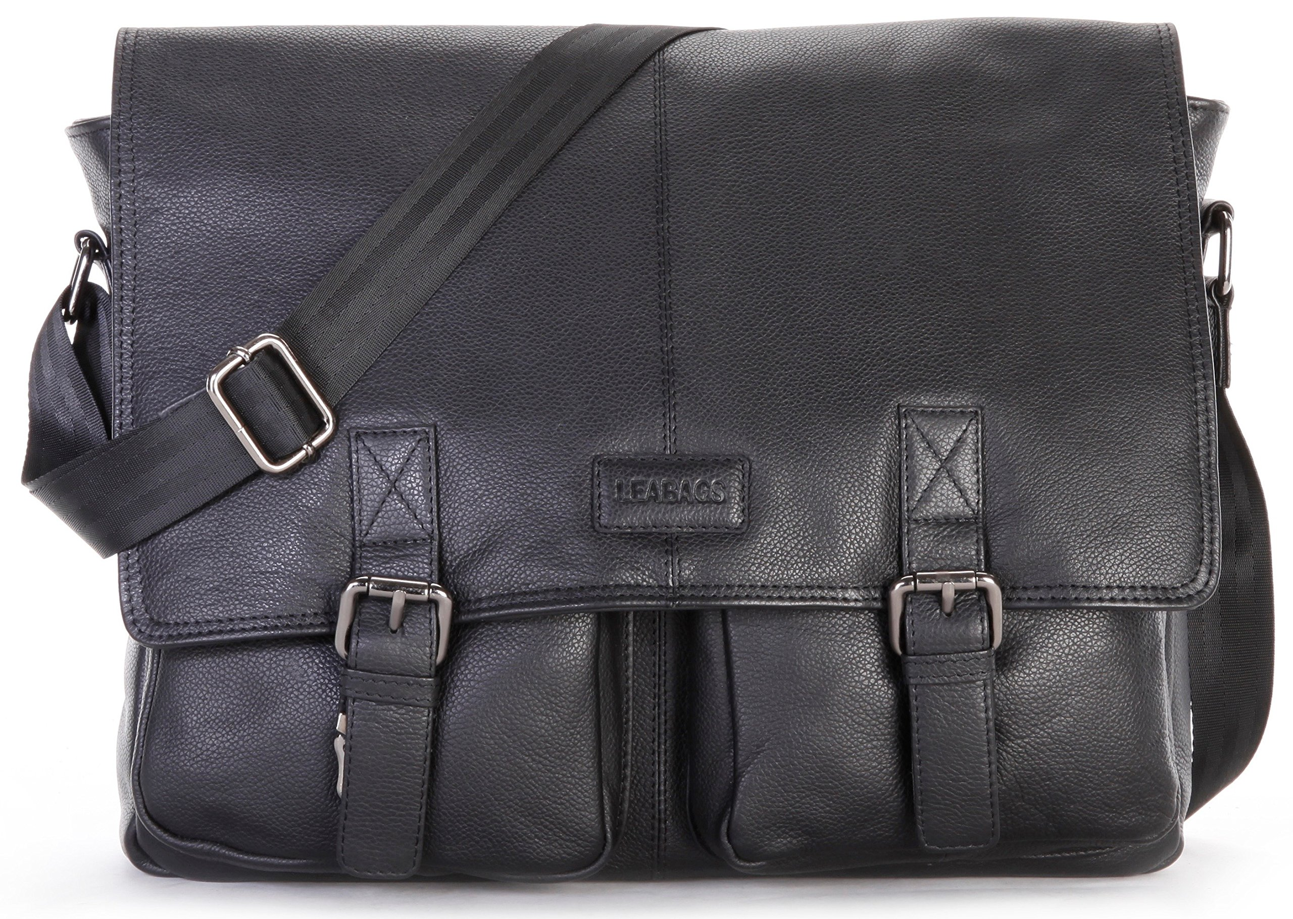 LEABAGS Cambridge genuine buffalo leather messenger bag in vintage style - OnyxBlack