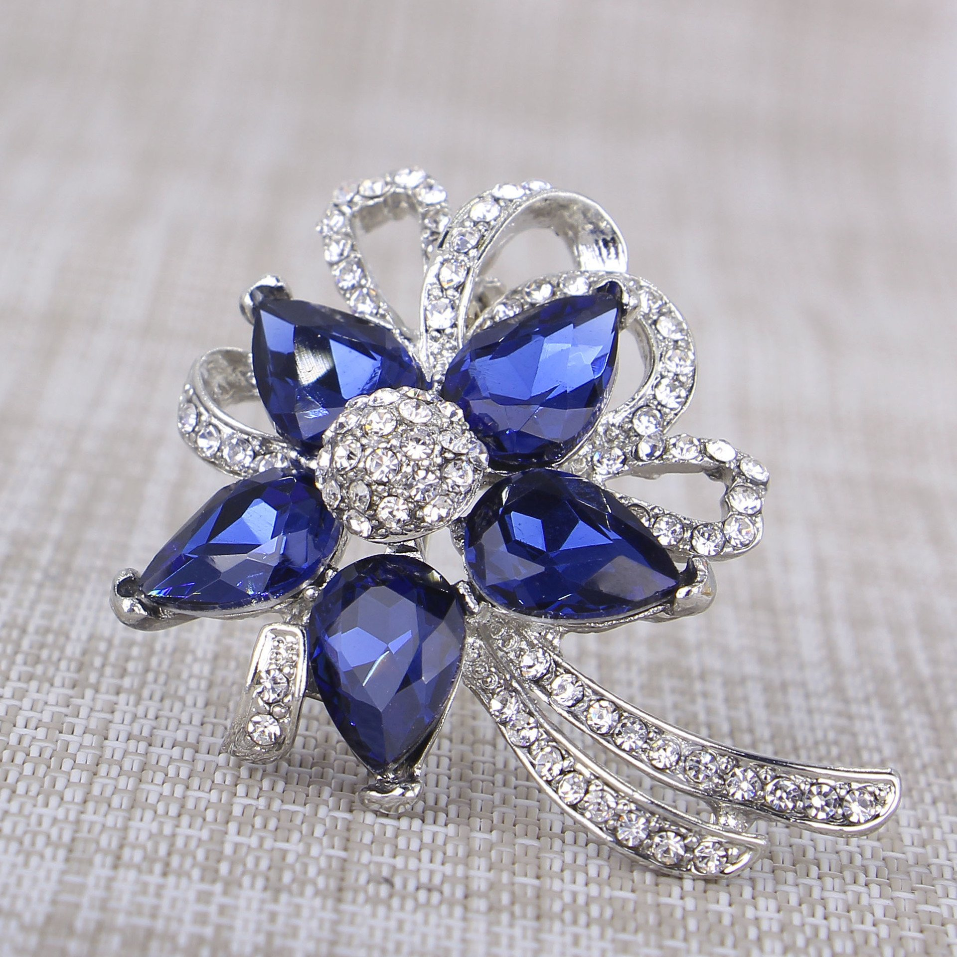 Jewelei Fashion Crystal 925 Sterling Silver Brooches Pins Scarf Clips for Wedding/Dailywear/Banquet by Jewelei (Image #4)