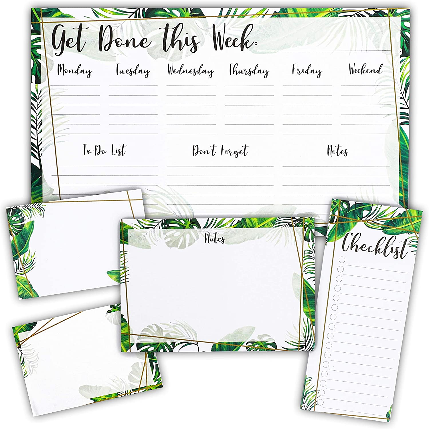 Tropical Foliage Sticky Notes, To-Do List, Weekly Planner and Scheduling Pad Set (5 Pieces)