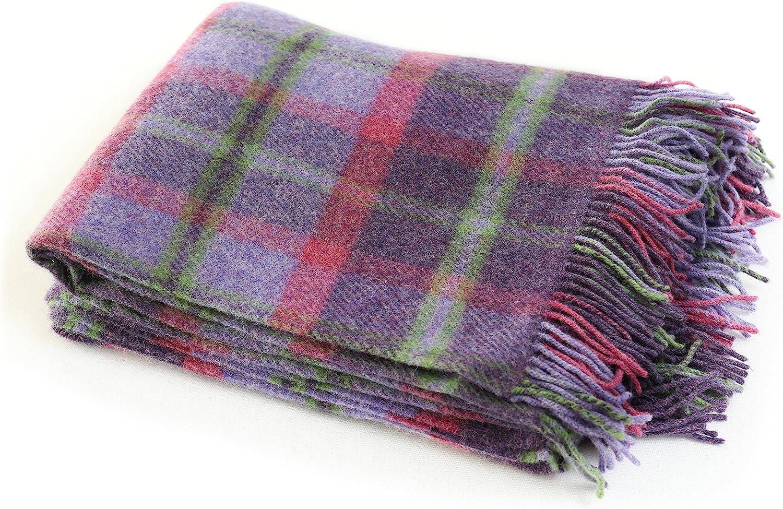 "Biddy Murphy Irish Wool Blanket 54"" x 72"" Fringed 100% Wool Throw Blanket Purple Plaid Made in Ireland"