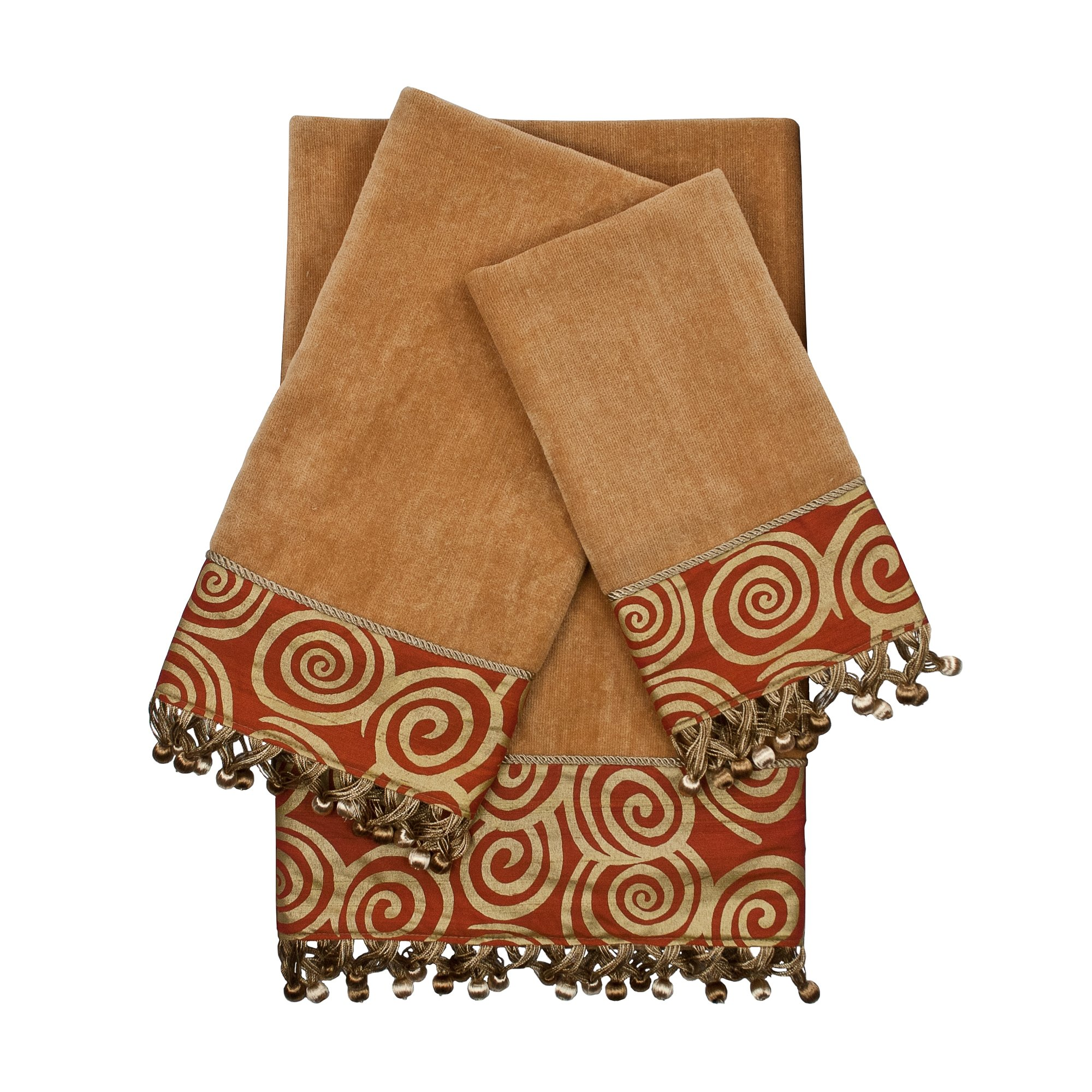 Sherry Kline Swirley Nugget 3Piece Embellished Towel Set Nugget Gold