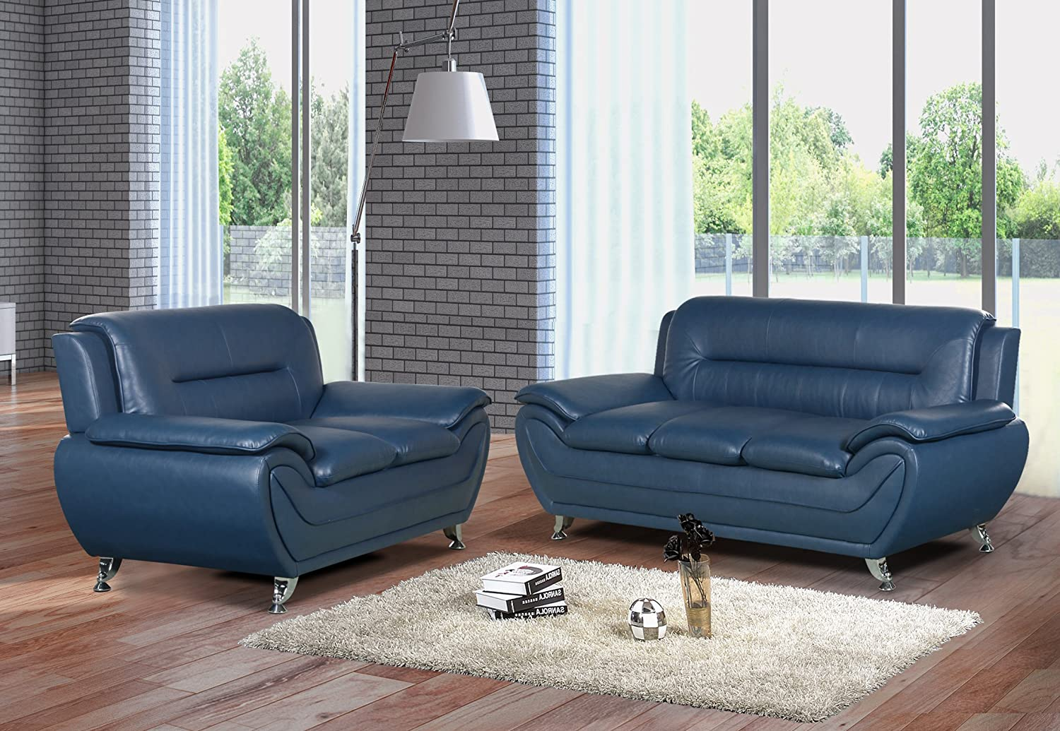 US Livings Anya Modern Living Room Polyurethane Leather Sofa Set (Sofa and  Loveseat, Blue)