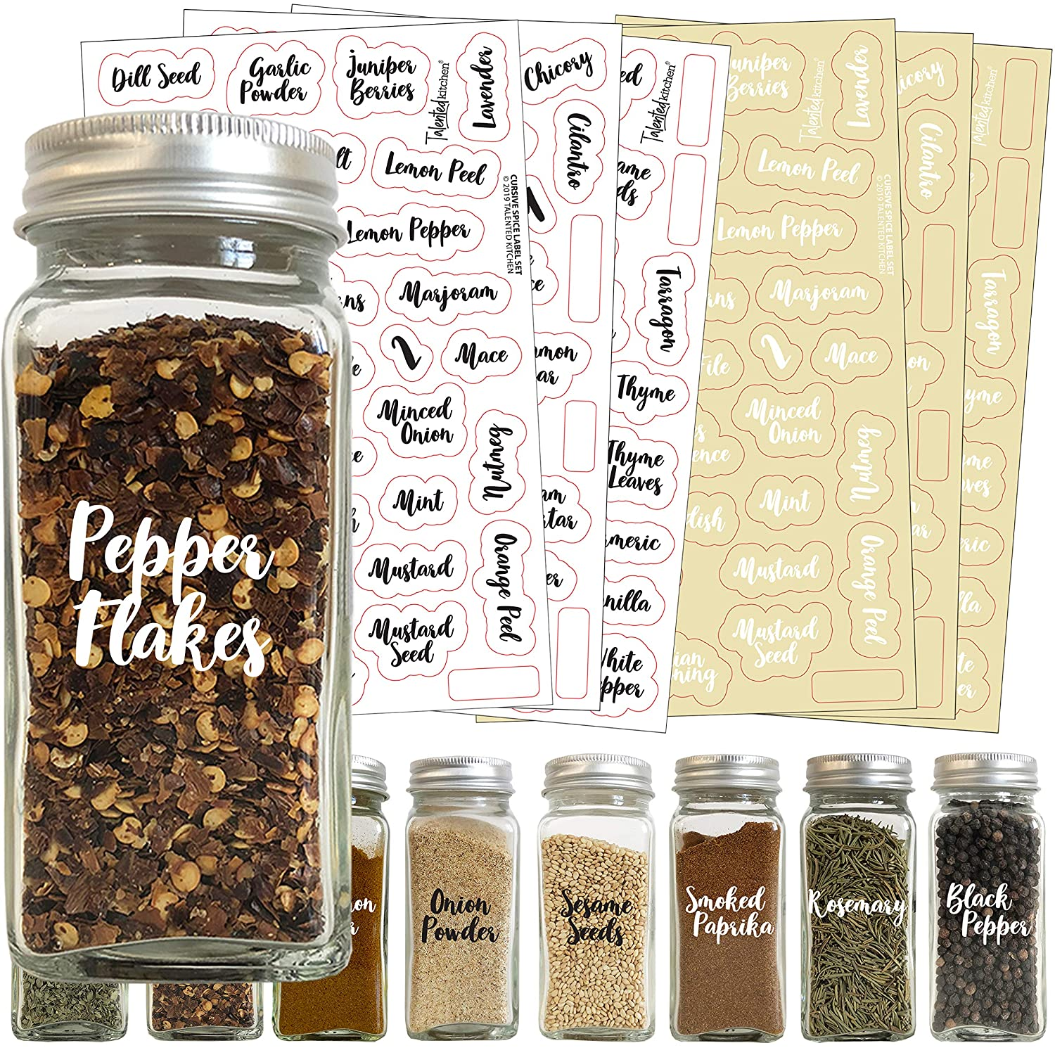 Talented Kitchen 212 Cursive Spice Label Combo – 212 Black & White Preprinted Labels: Most Common Spice Names in 2 Letter Colors on Clear Stickers. Waterproof, Spice Jar Labels Spice Rack Organization