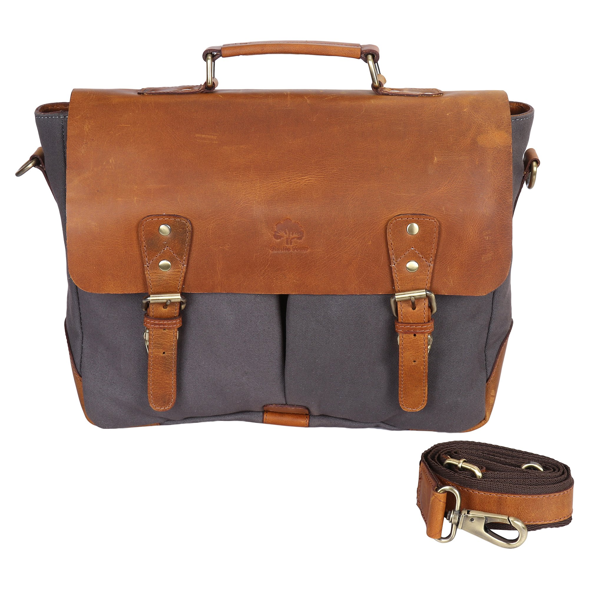 RusticTown Handmade Leather Canvas Vintage Crossbody Messenger Bag Gift Men Women Travel Work ~ Carry Laptop Computer Books ~ Everyday Office College School Satchel 15 inch