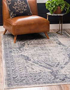 Unique Loom Chateau Distressed Vintage Traditional Textured Area Rug_VIL008, 8 x 10 Feet, Navy Blue/Ivory