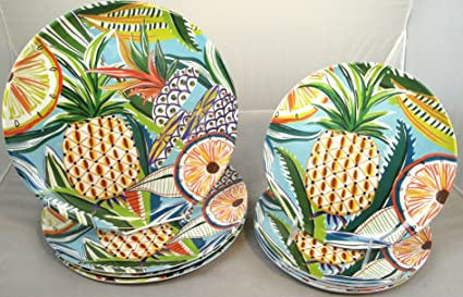 8-Piece Cynthia Rowley Tropical Pineapple Fruit Print Melamine Dinner Plates and Salad / Appetizer & Amazon.com | 8-Piece Cynthia Rowley Tropical Pineapple Fruit Print ...