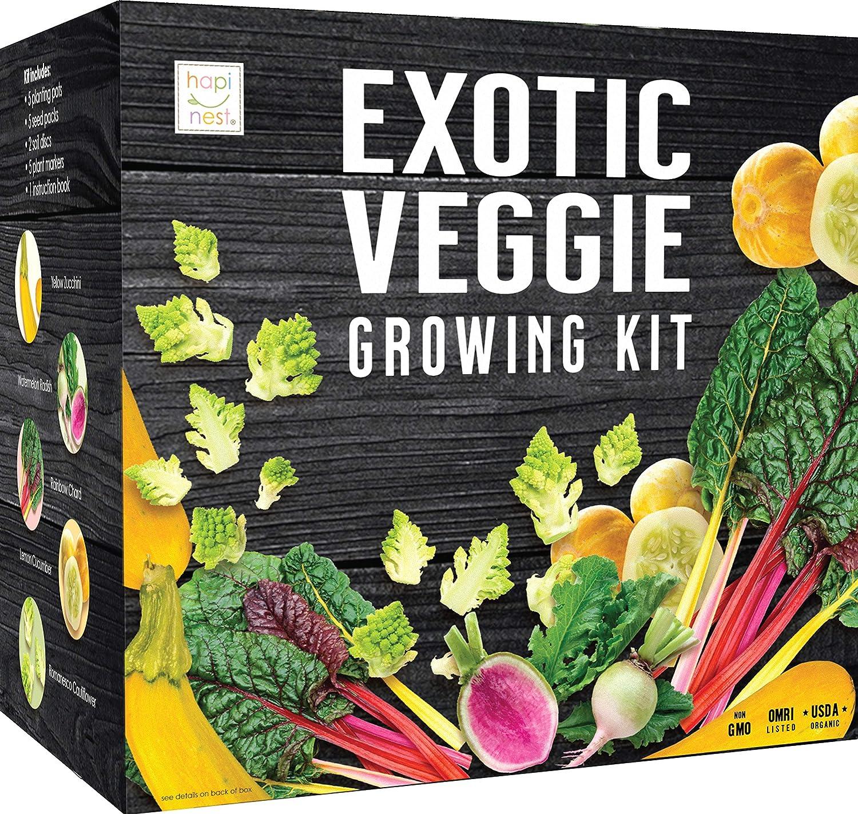 Exotic Vegetable Indoor Garden Seed Starter Growing Kit - USDA Organic Non GMO Gardening Gifts