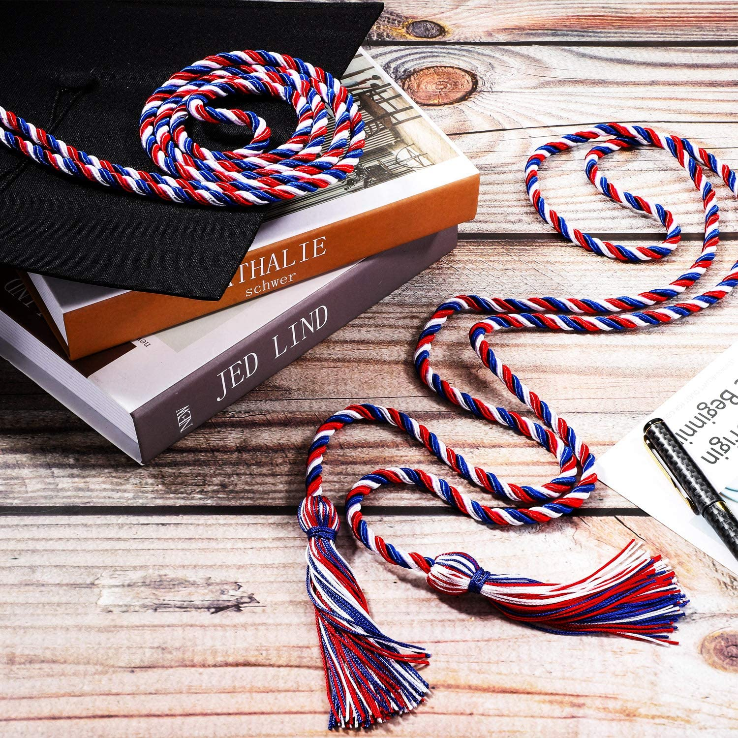 Mixed Dark Blue, Red and White 6 Pieces Honor Cord Graduation Cord with Tassel Braided Grad Days Honor Cords for School Graduation Ceremony Party