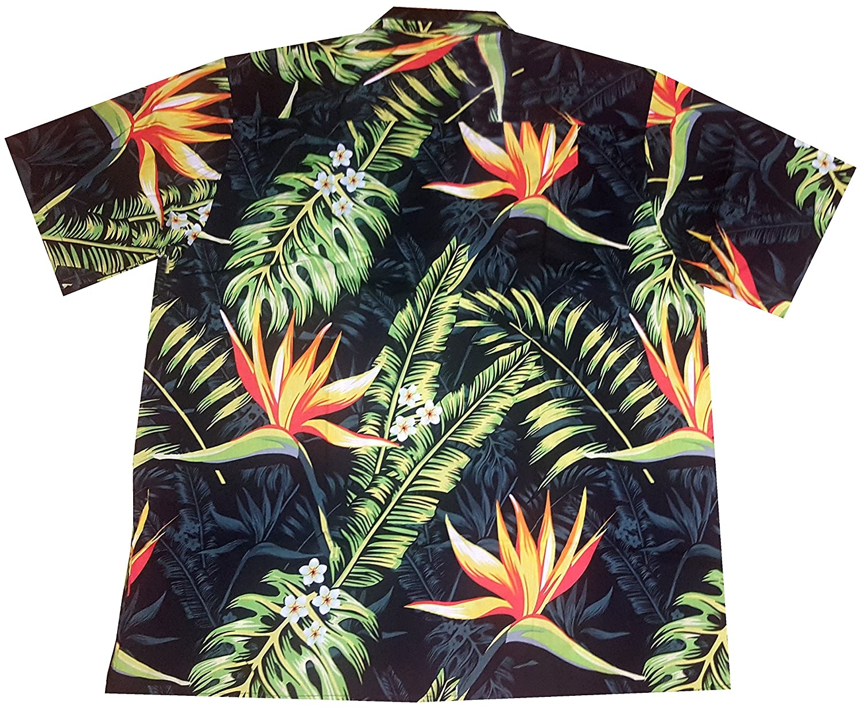 "Black Flowers S Mens Hawaiian Shirt /""Bird of Paradise/"" 100/% Cotton 8XL"