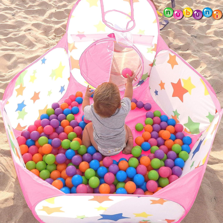 NUBUNI Pop Up di Tenda e Tunnel da Gioco Bambini Tenda Giocattolo Tunnel Bambino Ball Pool per Bambini e Bambine incl. Borsa per Il Trasporto Rosa 2