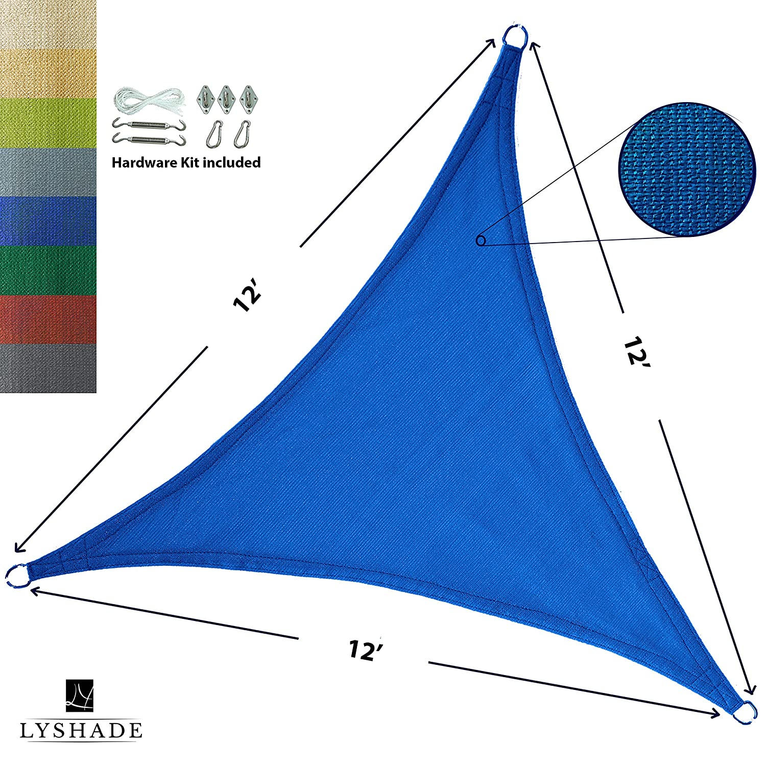 LyShade 12 x 12 x 12 Triangle Sun Shade Sail Canopy with Stainless Steel Hardware Kit Blue – UV Block for Patio and Outdoor