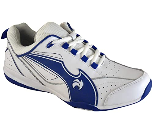 Men's Henselite Blade Leather Lawn Bowling Trainers White/Blue