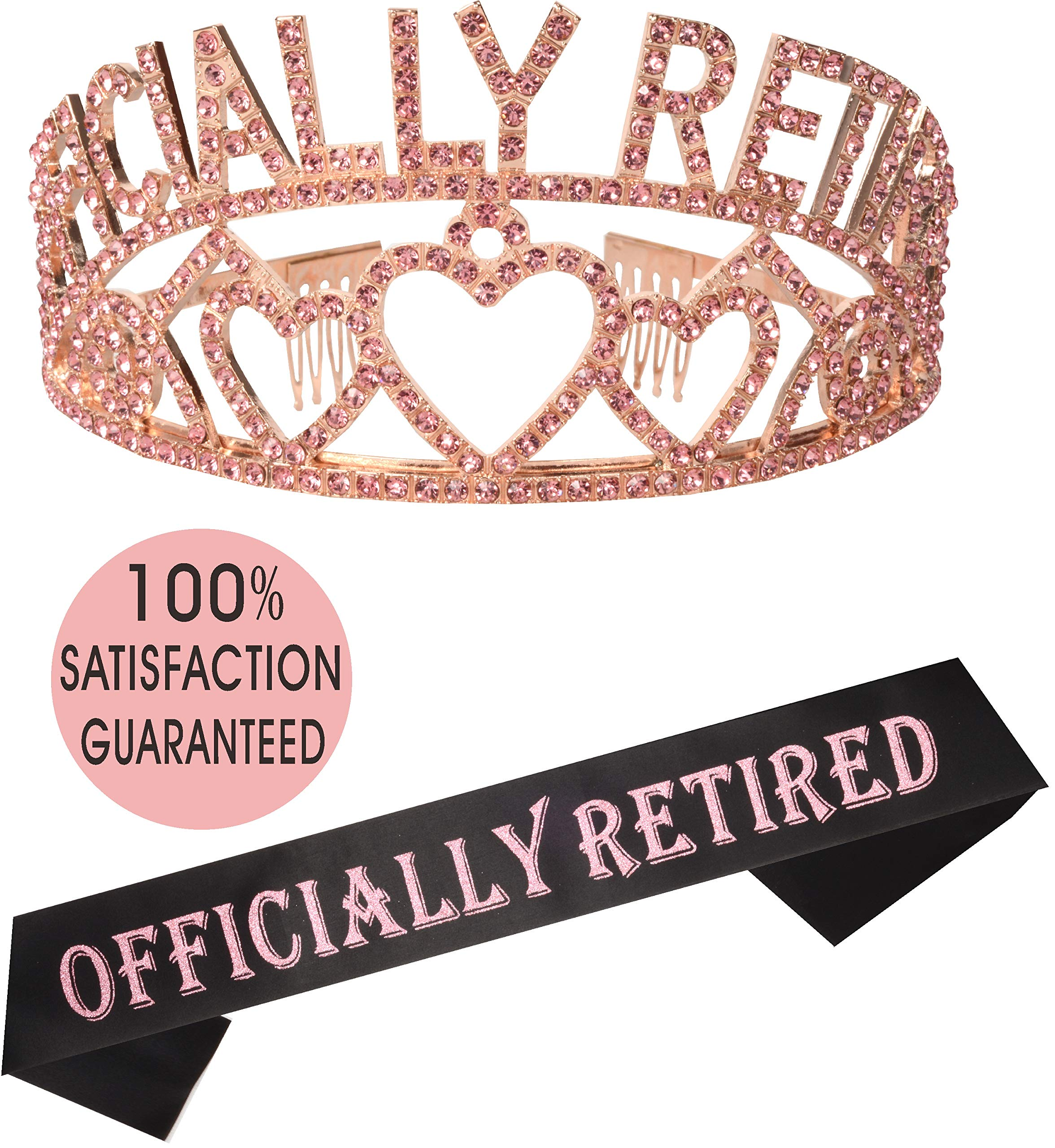 Pink Officially Retired Retirement Party Set | Officially Retired Tiara/Crown | Retired Sash | I'm Retired! Satin Sash| Retirement Party Supplies, Gifts, Favors and Decorations | Great for Retiremen