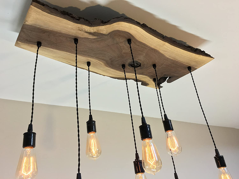 Amazon com modern industrial live edge walnut chandelier light