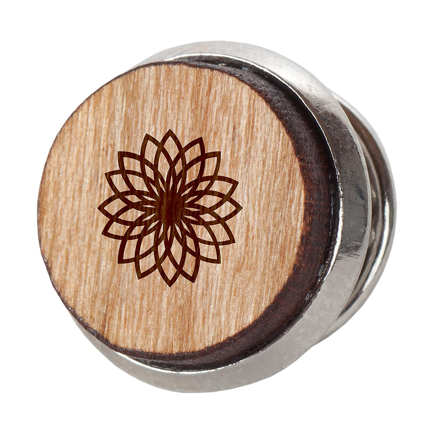 12Mm Simple Tie Clip with Laser Engraved Design Geometric Flower Stylish Cherry Wood Tie Tack Engraved Tie Tack Gift