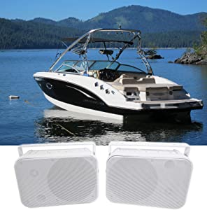 """Pair Rockville HP65S 6.5"""" Marine Box Speakers with Swivel Bracket for Boats"""
