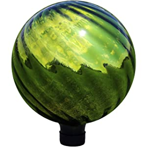 Sunnydaze Green Rippled Gazing Globe Glass Garden Ball, Outdoor Lawn and Yard Ornament, Reflective Mirrored Surface, 10-Inch