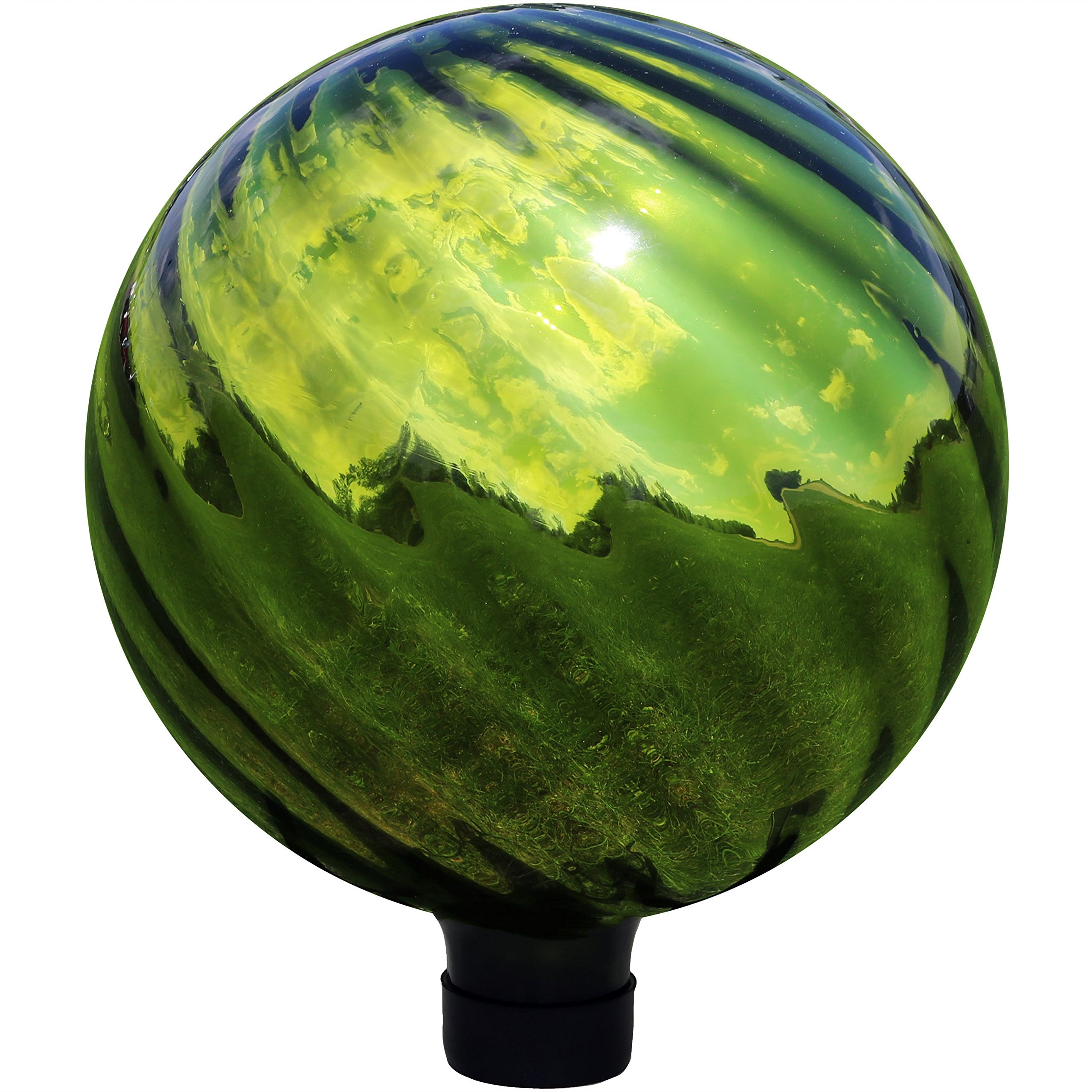 Sunnydaze Green Rippled Gazing Globe Glass Garden Ball, Outdoor Lawn and Yard Ornament, Reflective Mirrored Surface, 10-Inch