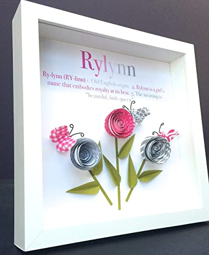 Amazon personalized name origin and meaning baby gift paper personalized name origin and meaning baby gift paper origami shadowbox frame art with roses butterflies negle Image collections