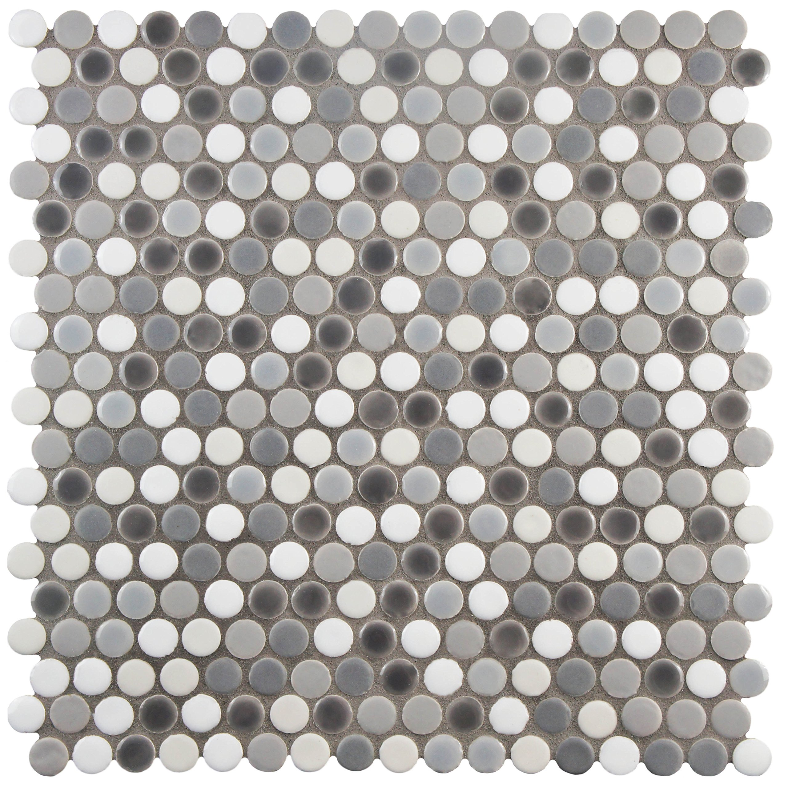 SomerTile FSHCOMLU Juno Penny Round Luna Porcelain Floor and Wall Tile, 11.25'' x 11.75'', Grey/White by SOMERTILE
