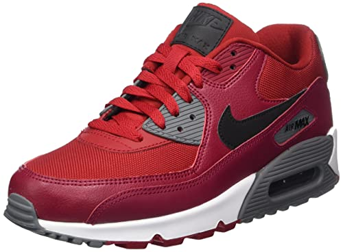 Nike Men's Air Max 90 Essential Running Shoe, Gym RedBlack