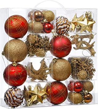 Amazon Com Valery Madelyn 70ct Woodland Shatterproof Christmas Ball Ornaments Decoration Red Brown Themed With Tree Skirt Not Included Furniture Decor