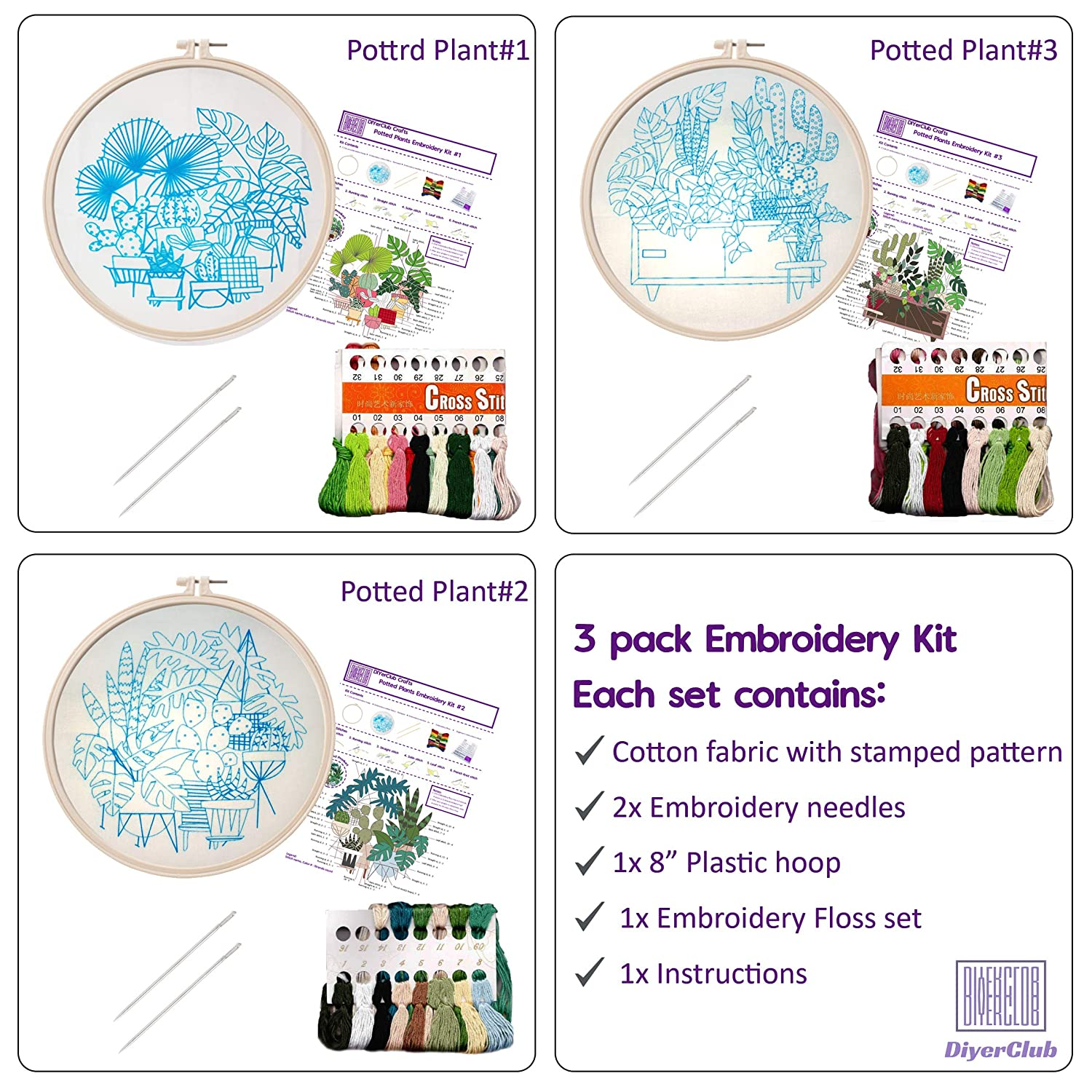 6 Needles 3 Pack Embroidery Kit for Beginners with Pattern and Instructions Needlepoint Starter Kits for Adults 3 Instructions by DiyerClub Crafts 3 Plastic Hoops Embroidery Set 3 Stamped Cloth