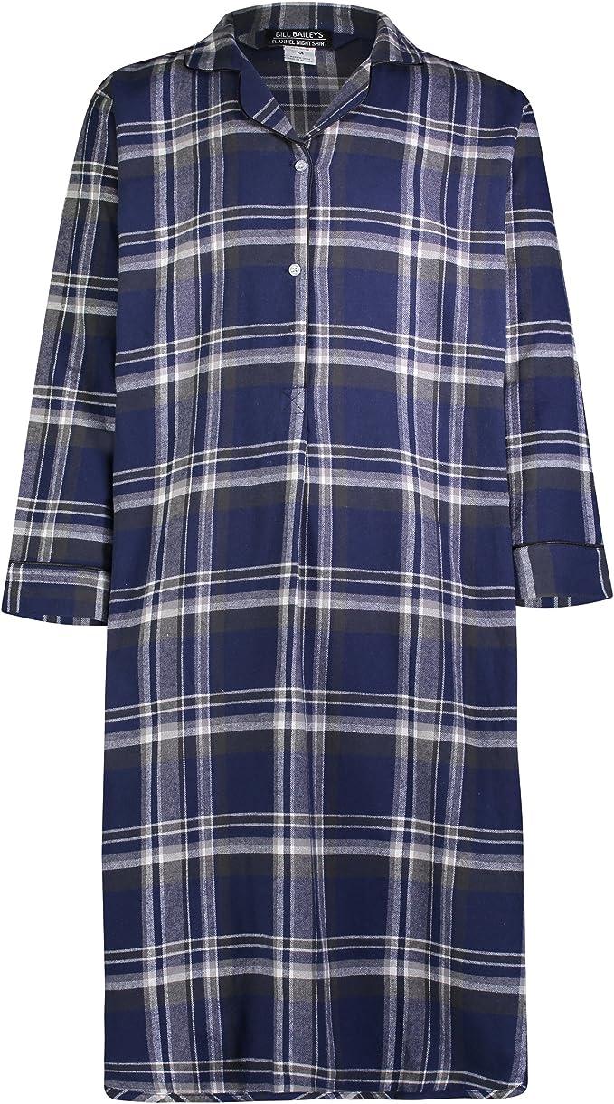 Medium, Grey Blue Plaid Bill Baileys Sleepwear Mens Broadcloth Woven Nightshirt Sleep Shirt
