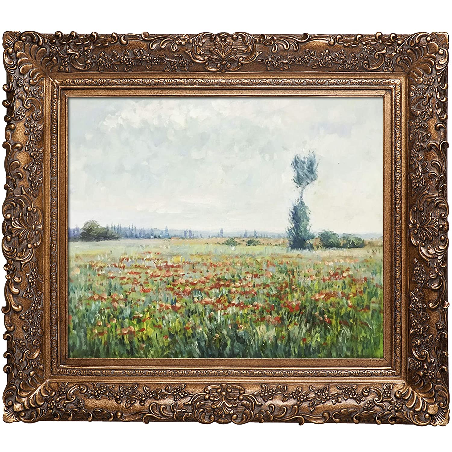 overstockArt Monet The Fields of Poppies Artwork with Athenian Gold Frame Finish