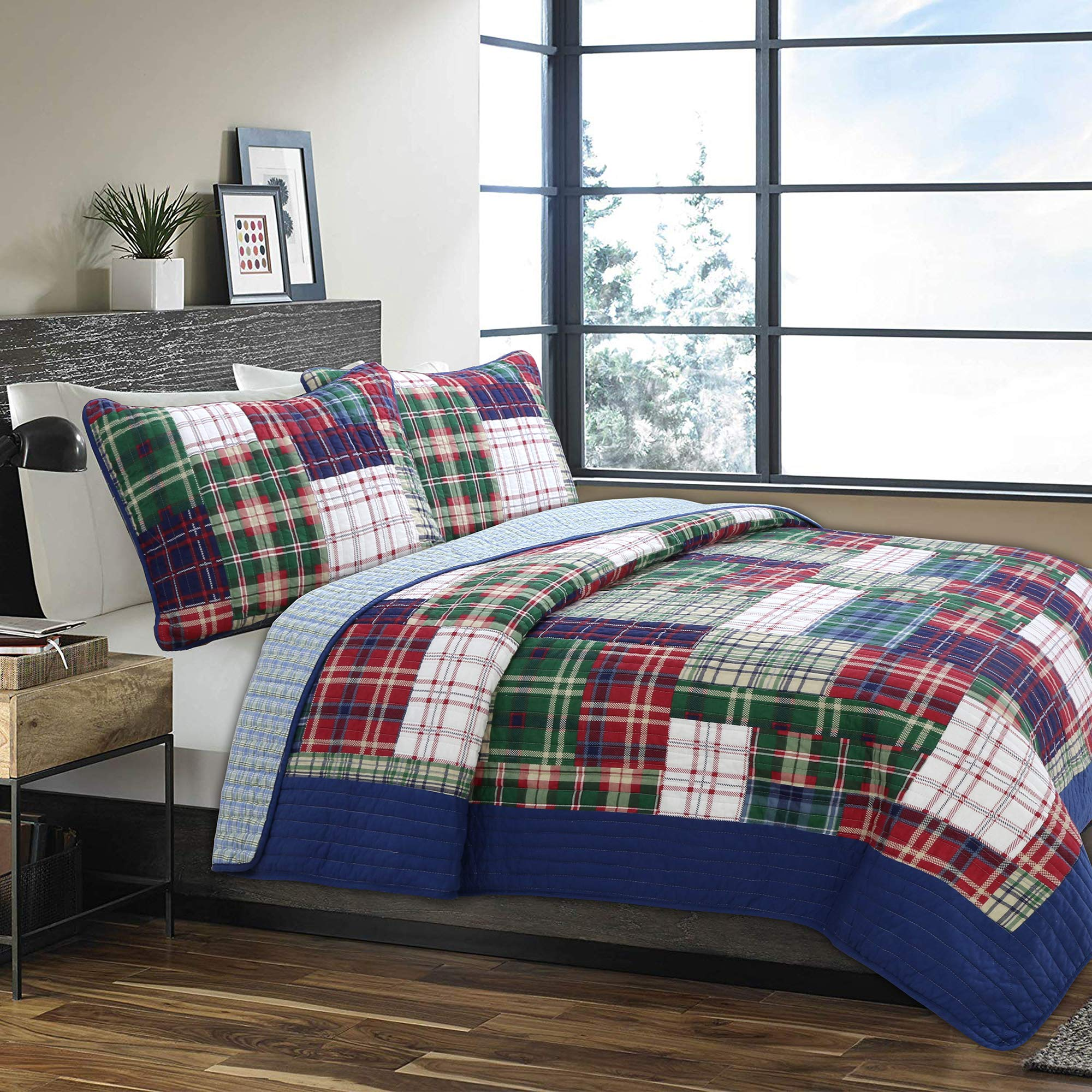 Cozy Line Home Fashions Nate Patchwork Navy/Blue/Green/Red Plaid Cotton Quilt Bedding Set, Reversible Coverlet,Bedspread for Boy/Men/Him (England Patchwork, Twin - 2 Piece) by Cozy Line Home Fashions