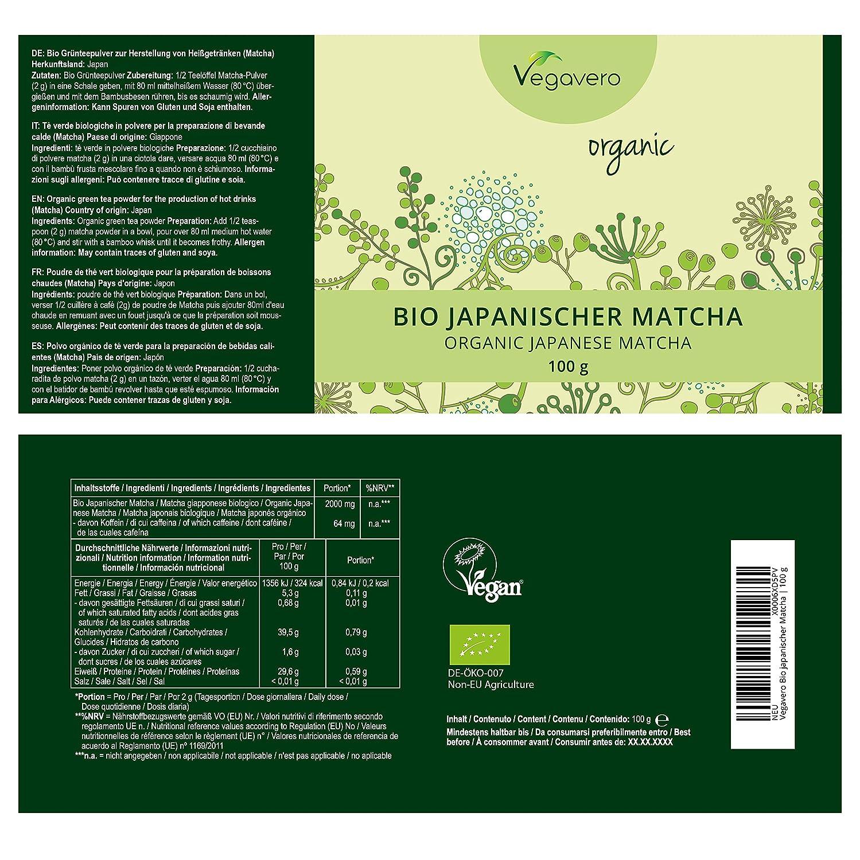 Bio Té Verde Matcha Orgánico   Antioxidante + Energía y Vitalidad + ...