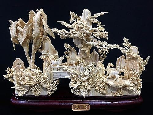 China Fine Craft 16 Antique Bone Horses with Palm Tree 98M4