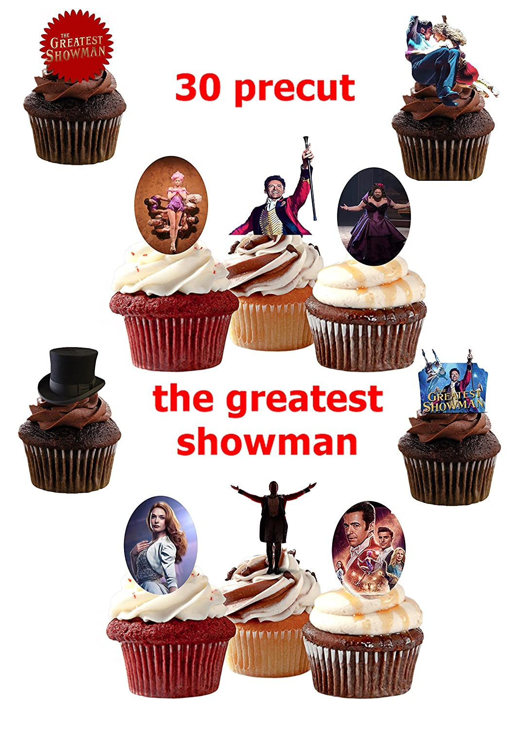 30 x The Greatest Showman Stand UP precut Edible Cupcake Topper Birthday Cake Topper channys cake toppers