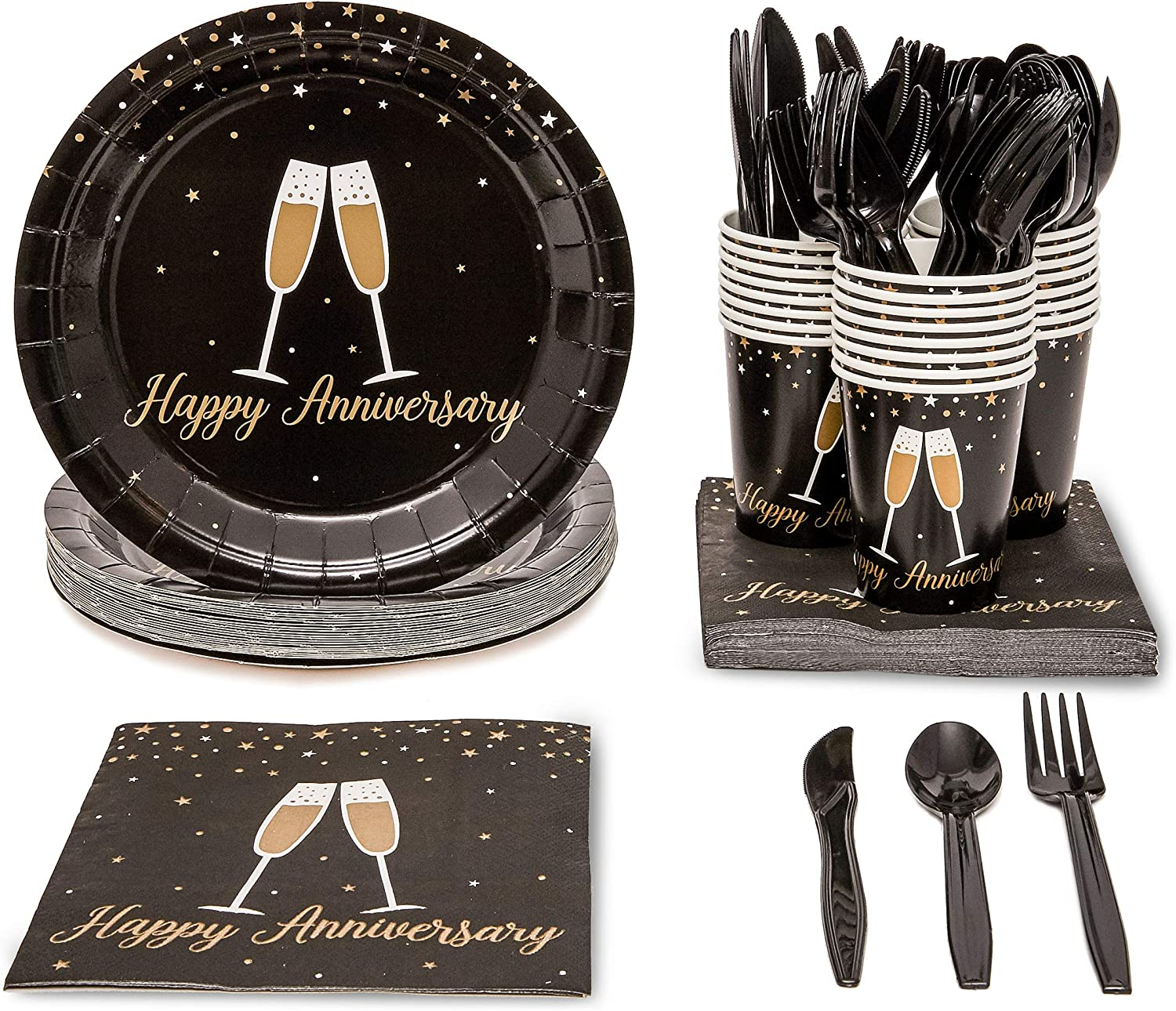 Happy Anniversary Party Bundle, Includes Plates, Napkins, Cups, and Cutlery (24 Guests,144 Pieces)
