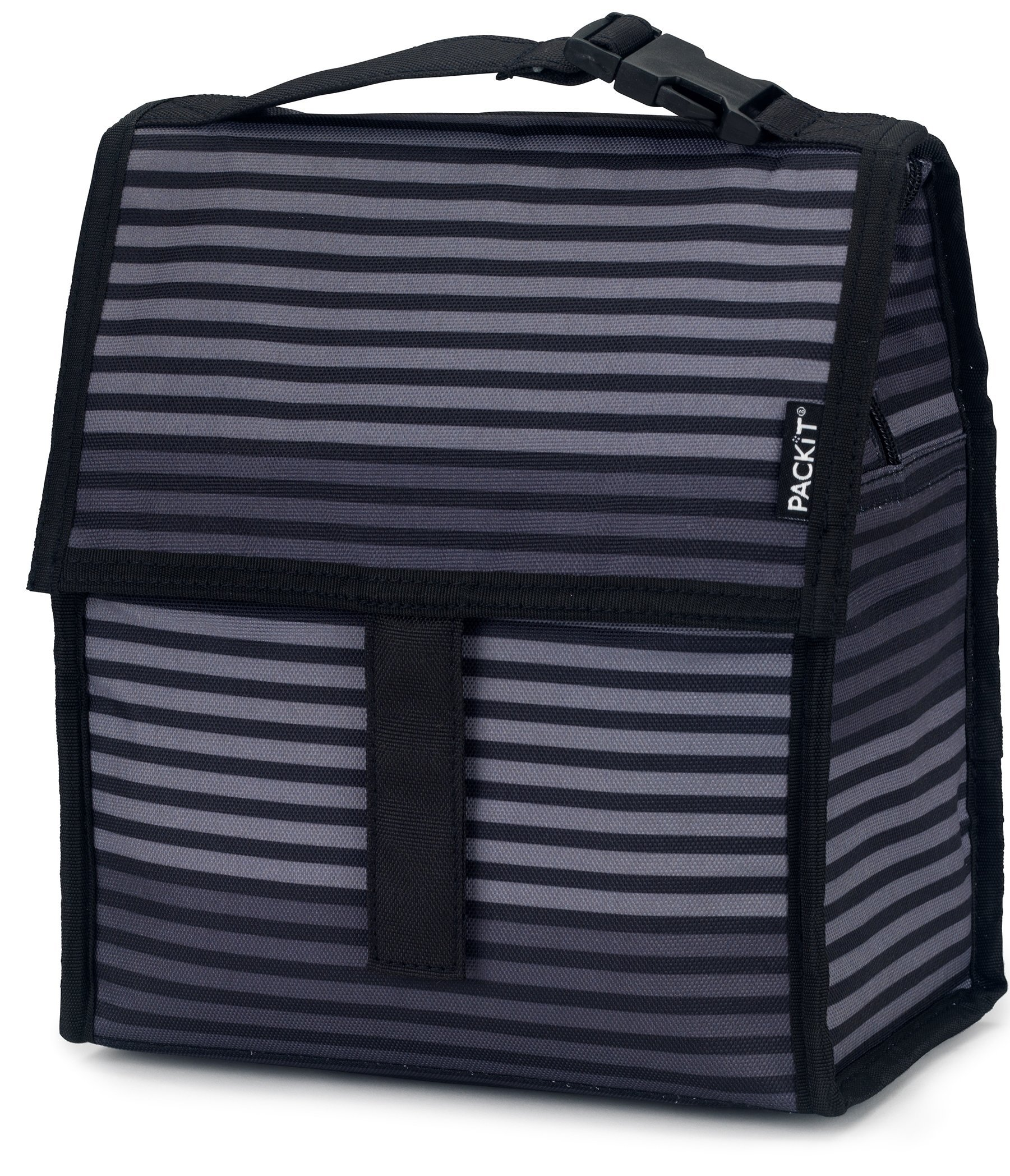 PackIt Freezable Lunch Bag with Zip Closure, Gray Stripe by PackIt