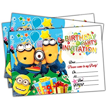 Invitations 20 X Minions Kids Birthday Party Invites Cards Quality Girls Boys