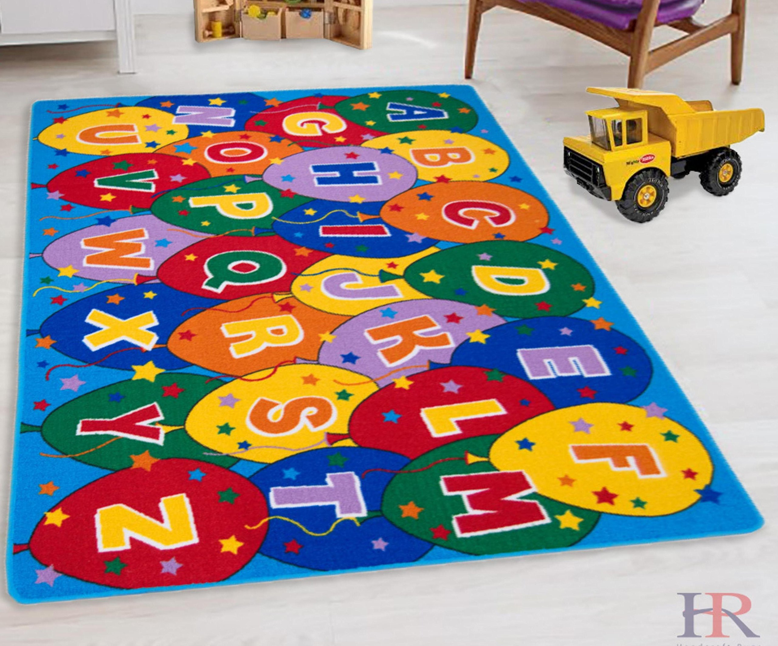 Teaching ABC Balloons Party accent Kids Educational play mat For School/Classroom / Kids Room/Daycare/ Nursery Non-Slip Gel Back Rug Carpet-(5 by 7 feet)