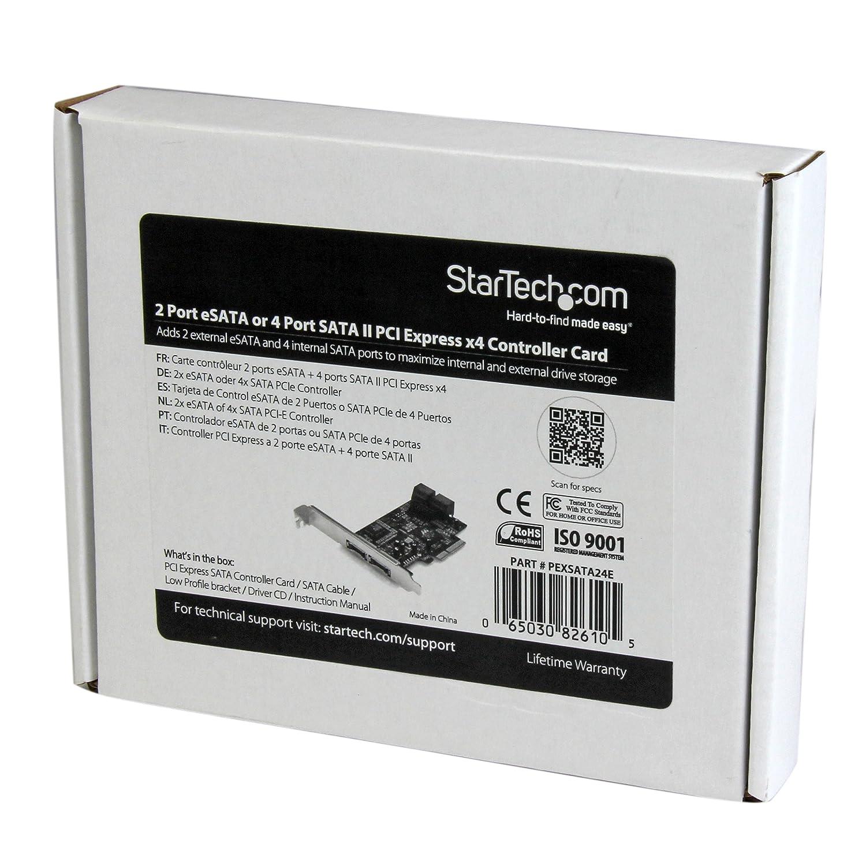 StarTech PEXSATA24E 2-Port eSATA + 4-Port SATA II PCI Express x4 SATA Controller Adapter Card