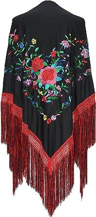 Nuevo chal de Flamenco Español-Negro y Rosa Con Negro Flecos