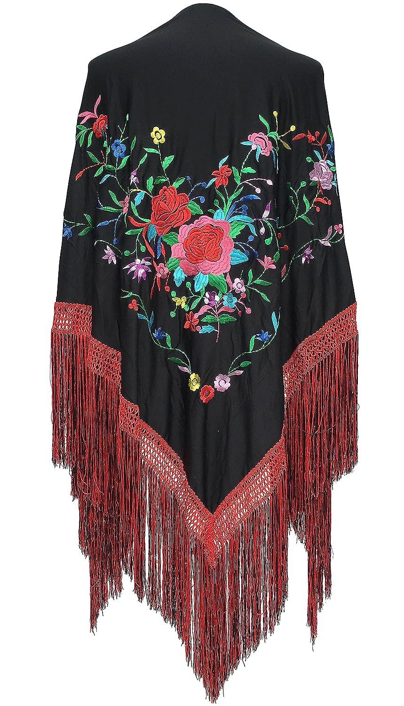 La Se/ñorita Spanischer Manton//Tuch schwarz mit Blumen-Franzen rot schwarz Gr/ö/ße L