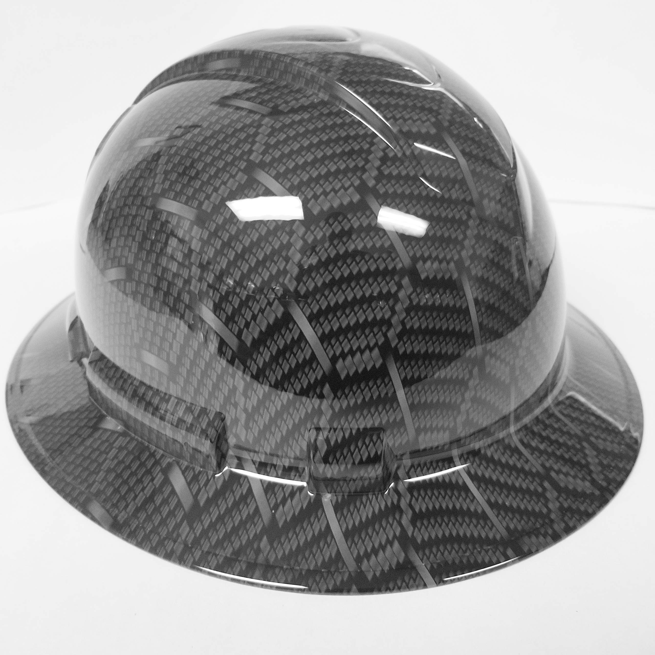 Wet Works Imaging Customized Pyramex Full Brim HEX Weave Carbon Fiber 3D Limited Hard HAT with Ratcheting Suspension Custom LIDS Crazy Sick Construction PPE by Wet Works Imaging (Image #3)