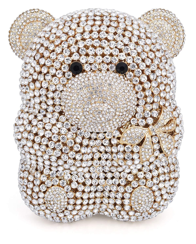 Mossmon Luxury Crystal Clutch Bear Evening Bag (Gold)