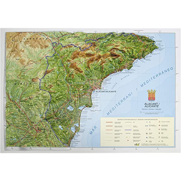 Mapa en relieve de Alicante: Escala 1:150.000: Amazon.es: All 3D ...
