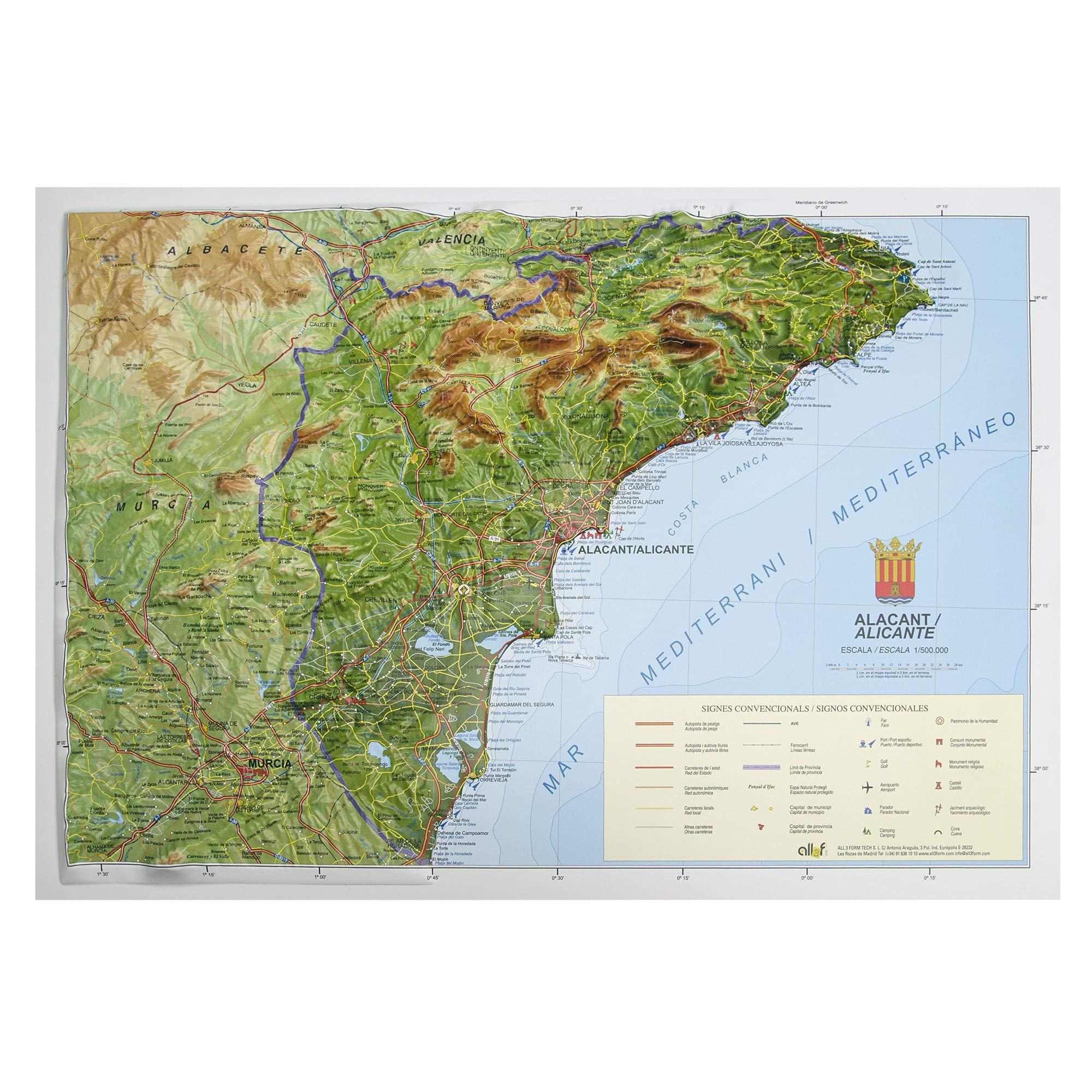 Mapa en relieve de Alicante: Escala 1:150.000: Amazon.es: All 3D Form, S.L.: Libros
