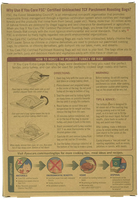Favorite Amazon.com: IF YOU CARE Non-Stick Parchment Roasting Bags, Extra  ES78
