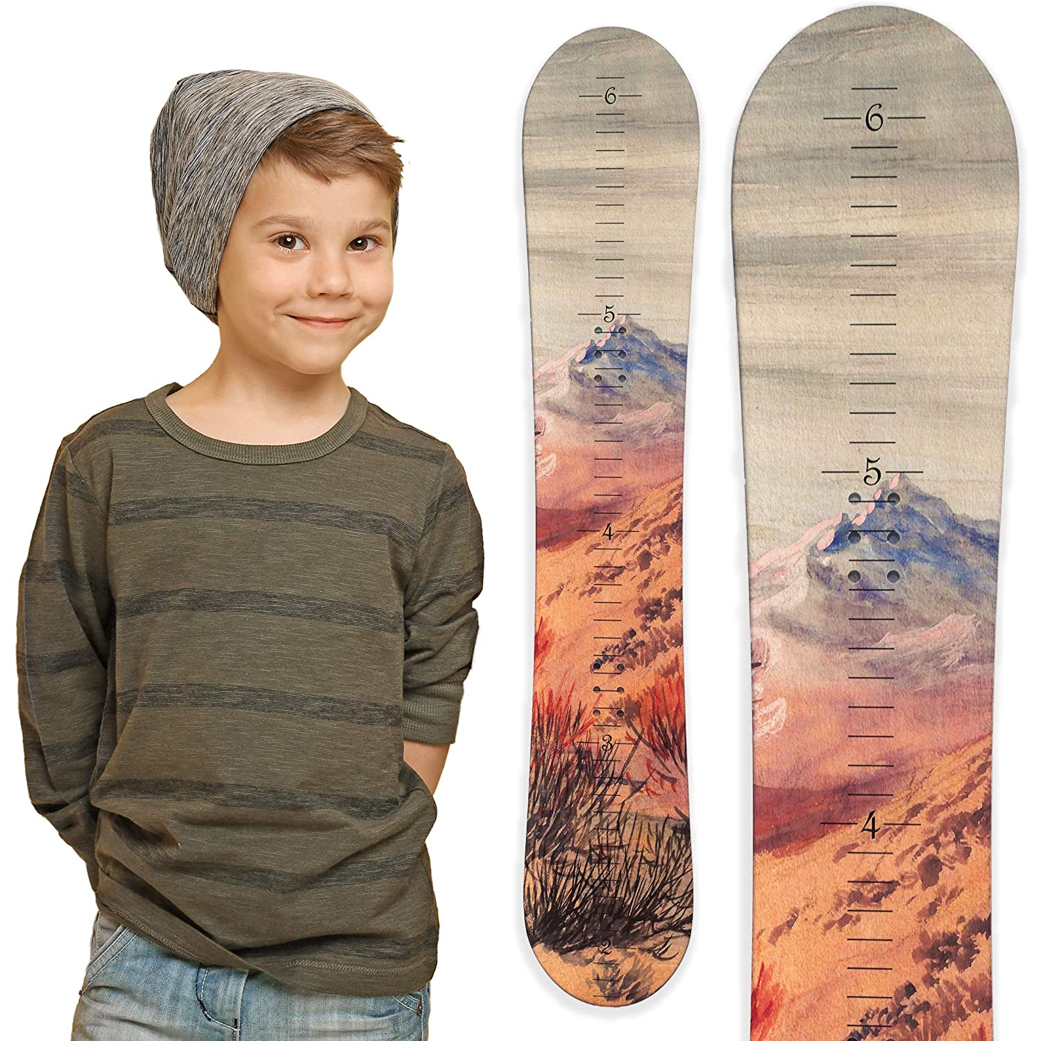 Snowboard Wooden Growth Chart by Growth Chart Art (Traditional Wood) Growth Chart Art TM